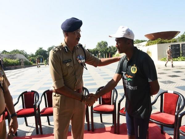 Indo-Tibetan Border Police (ITBP) Director General Sanjay Arora at the flag off event of the 4th Phase cycle rally