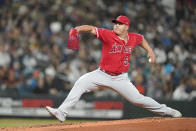 Los Angeles Angels starting pitcher Jose Suarez throws against the Seattle Mariners during the second inning of a baseball game, Friday, Oct. 1, 2021, in Seattle. (AP Photo/Ted S. Warren)