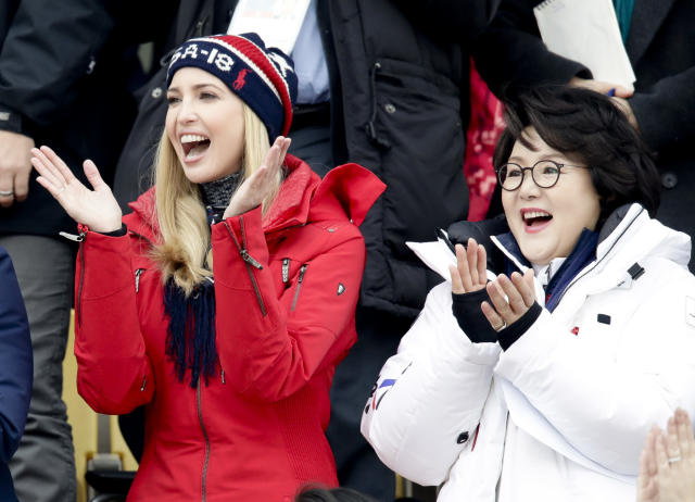 Ivanka Trump, left, cheers with Kim Jung-sook, wife of the South Korean President during the men's Big Air snowboard competition at the 2018 Winter Olympics in Pyeongchang, South Korea, Saturday, Feb. 24, 2018. (AP Photo/Dmitri Lovetsky)