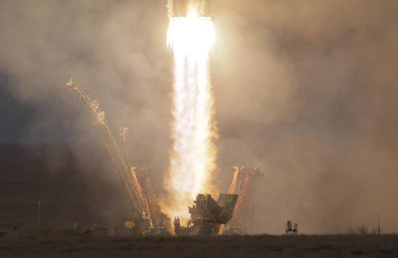 Soyuz rocket launches astronauts to the International Space Station