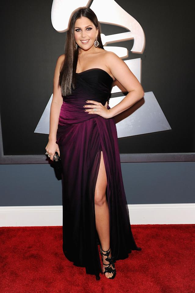 LOS ANGELES, CA - FEBRUARY 12: Singer Hillary Scott of the group Lady Antebellum arrives at the 54th Annual GRAMMY Awards held at Staples Center on February 12, 2012 in Los Angeles, California.  (Photo by Larry Busacca/Getty Images For The Recording Academy)