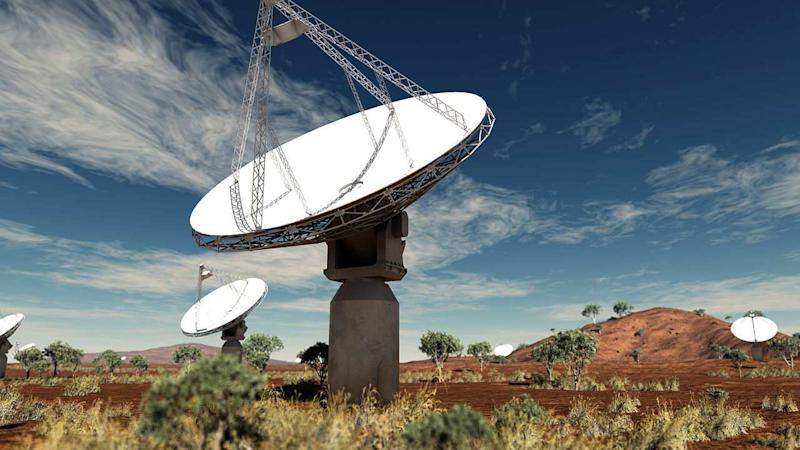 The radio telescope - the Australian Square Kilometre Array Pathfinder used to look at these strange objects. Image credit: Swinburne Astronomy Productions, CSIRO