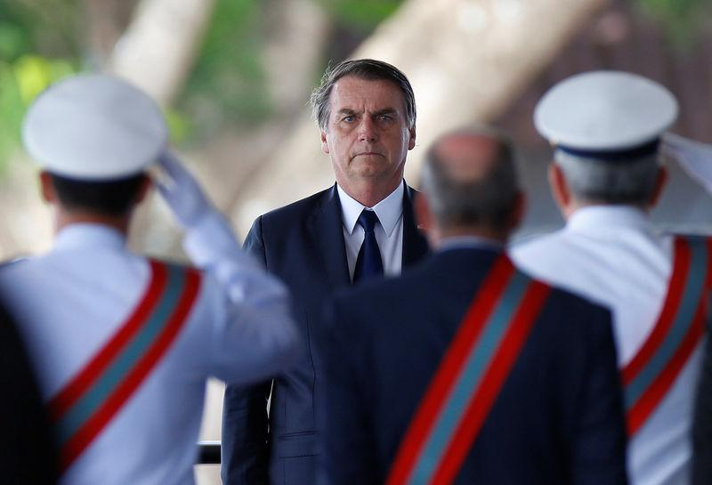 Brazil's President Jair Bolsonaro attends a swearing-in ceremony for the country's new Navy commander in Brasilia