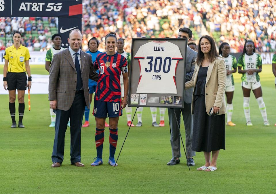 """<p>During an international friendly with Sweden this spring, Lloyd became just the third American player - in both men's and women's soccer - to <a href=""""http://www.fifa.com/tournaments/womens/womensolympic/tokyo2020/news/lloyd-reaches-300-caps-to-join-elite-company"""" class=""""link rapid-noclick-resp"""" rel=""""nofollow noopener"""" target=""""_blank"""" data-ylk=""""slk:play in 300 international matches"""">play in 300 international matches</a>. With her selection for Tokyo, she'll inch closer to former teammate Christie Pearce Rampone, whose 311 caps are the second-highest tally in program history.</p>"""
