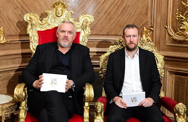 Greg Davies and Alex Horne during for a UKTV Live season launch at Claridge's hotel, London.