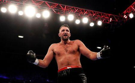 Boxing - Sam Sexton v Hughie Fury - British Heavyweight Title - Macron Stadium, Bolton, Britain - May 12, 2018 Hughie Fury celebrates winning his match against Sam Sexton Action Images/Lee Smith