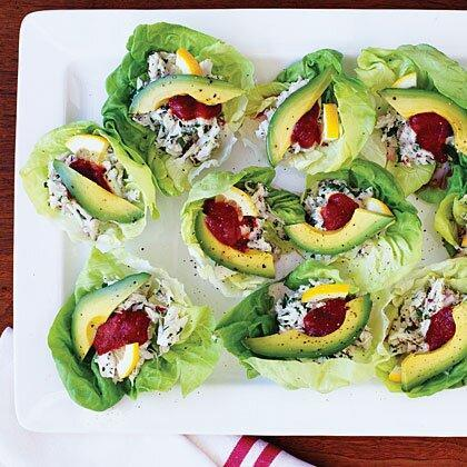 """<p>Time: 30 minutes. Behind the scoreboard at AT&T Park in San Francisco, the Crazy Crab'z stand sells a fresh, light crab salad like this. We dress it up with avocado and parsley, then serve the salad in lettuce cups to make it finger-friendly. </p><p><a href=""""https://www.myrecipes.com/recipe/crab-salad-cups"""" rel=""""nofollow noopener"""" target=""""_blank"""" data-ylk=""""slk:Crab Salad Cups Recipe"""" class=""""link rapid-noclick-resp"""">Crab Salad Cups Recipe</a></p>"""