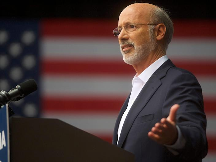 PHILADELPHIA, PA - SEPTEMBER 21: Pennsylvania Governor Tom Wolf addresses supporters before former President Barack Obama speaks during a campaign rally for statewide Democratic candidates on September 21, 2018 in Philadelphia, Pennsylvania.