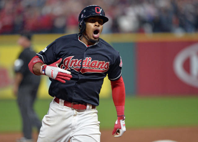 Francisco Lindor in the Indians' Block C logo. (AP)