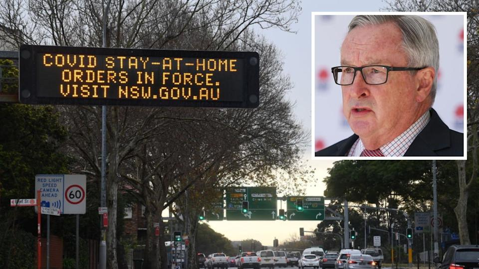 Road sign reminding NSW residents of lockdown, Brad Hazzard speaks at press conference.
