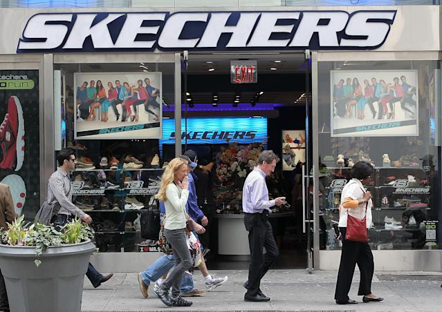 Skechers shares plunge after the shoe retailer issued a disappointing outlook for this quarter.