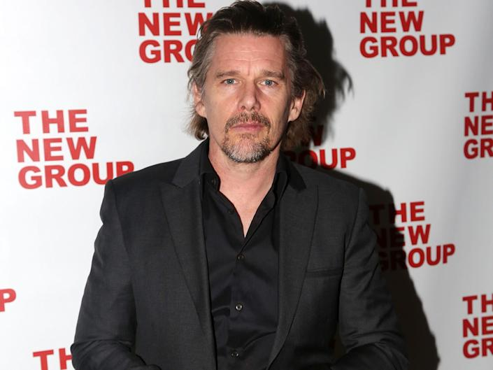"""Ethan Hawke poses at the opening night party for the new musical """"Bob & Carol & Ted & Alice"""" at Green Fig Urban Eatery at Yotel"""