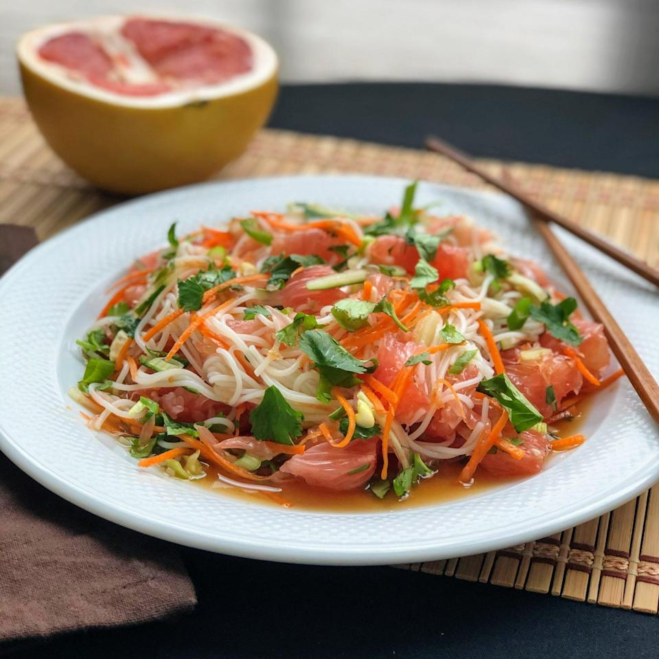 """<p>""""I had never had a pomelo, and the fish sauce, rice vinegar, and brown sugar worked very well together. I served this with steamed fish and jasmine rice. A very nice meal."""" — gderr the dysfunctional</p>"""