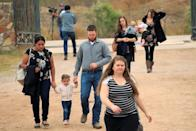 People arrive to attend the funeral of Dawna Ray Langford and her two children, members of the Mexican-American Mormon community killed by unknown assailants, in La Mora