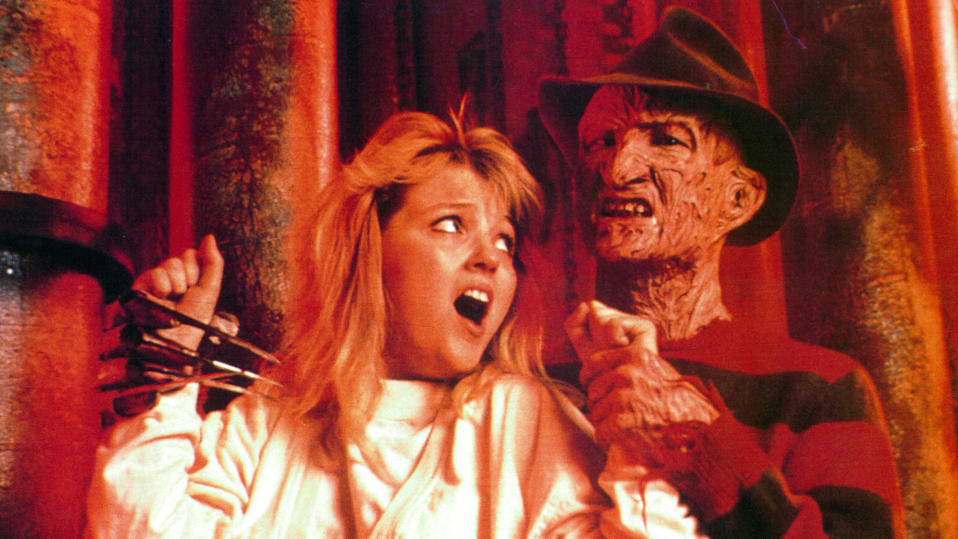 Tuesday Knight screams from the grasp of Robert Englund in movie art for 'A Nightmare On Elm Street 4: The Dream Master'. (Photo by New Line Cinema/Getty Images)