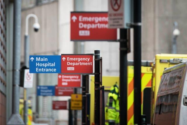 Signs at the accident and emergency department at Whitechapel hospital in London (Stefan Rousseau/PA)