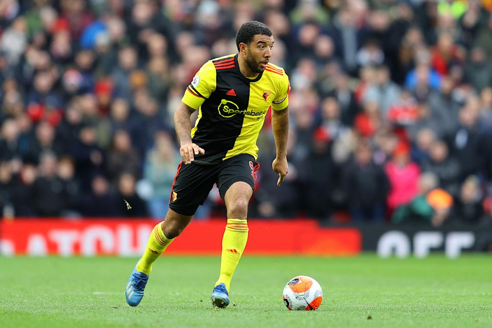 MANCHESTER, ENGLAND - FEBRUARY 23: Troy Deeney of Watford in action during the Premier League match between Manchester United and Watford FC at Old Trafford on February 23, 2020 in Manchester, United Kingdom. (Photo by Richard Heathcote/Getty Images)