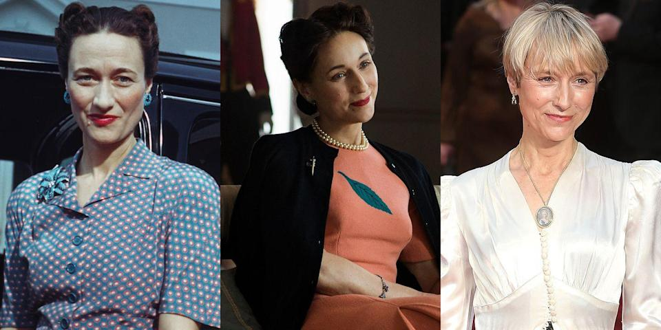 <p>British actress and director Lia Williams brought the enigmatic Wallis Simpson to life on <em>The Crown</em>.</p>