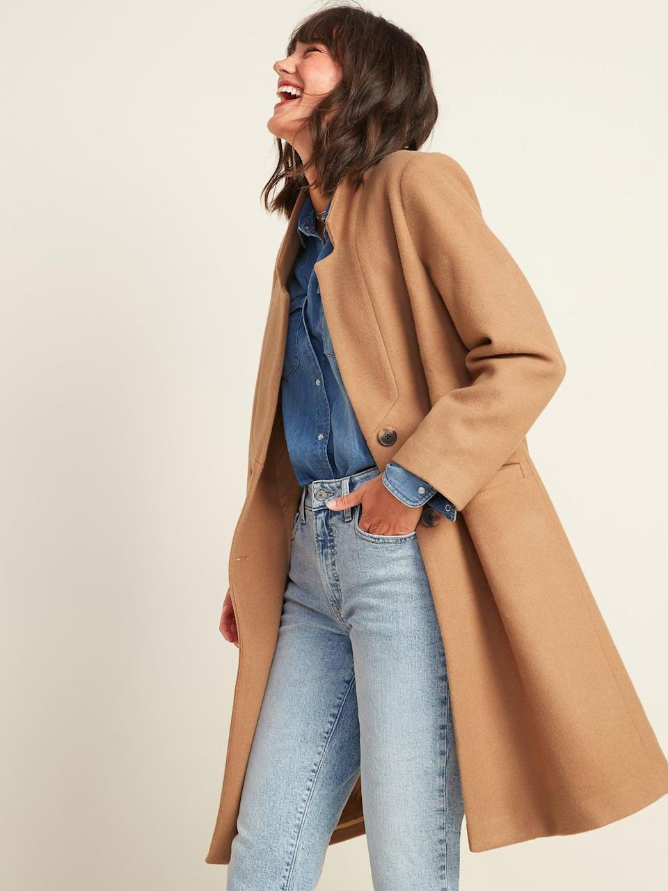 <p>This <span>Soft-Brushed Overcoat </span> ($60, originally $75) has an oversize fit, which is great for layering. We love how it looks with light-wash denim.</p>