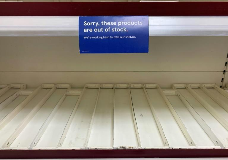 Empty shelves in supermarkets for some produce have become a regular sight (AFP/Paul ELLIS)