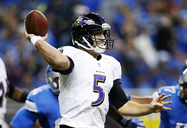 Baltimore Ravens quarterback Joe Flacco throws during the first quarter of an NFL football game against the Detroit Lions in Detroit, Monday, Dec. 16, 2013. (AP Photo/Rick Osentoski)