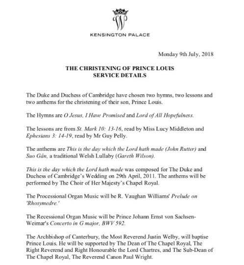 Service details from Prince Louis' christening.