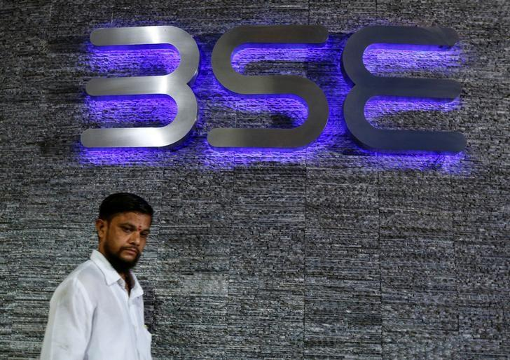 A man walks out of the Bombay Stock Exchange building in Mumbai