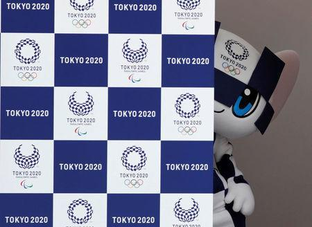 Tokyo 2020 Olympic Games mascot Miraitowa stands on stage during the mascots' debut in Tokyo, Japan, July 22, 2018. REUTERS/Kim Kyung-Hoon