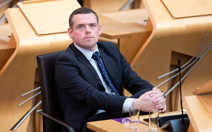 Scottish Conservative leader Douglas Ross in the main chamber as members elect Scotland's First Minister at Holyrood - PA