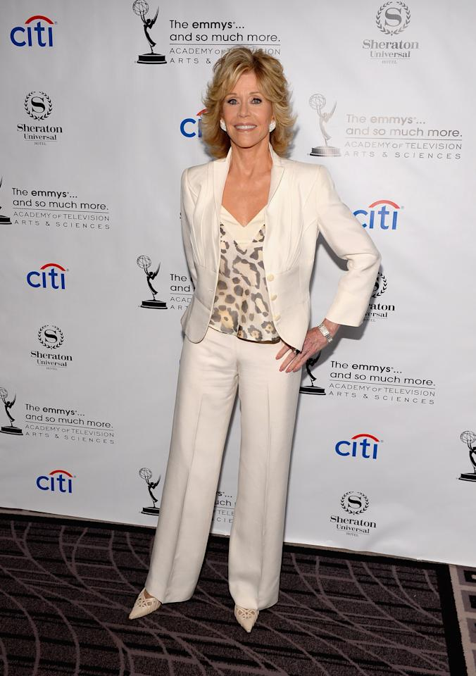 UNIVERSAL CITY, CA - AUGUST 19: Actress Jane Fonda arrives at the Academy of Television Arts & Sciences' Performers Peer Group cocktail reception to celebrate the 65th Primetime Emmy Awards at Sheraton Universal on August 19, 2013 in Universal City, California. (Photo by Mark Davis/Getty Images)
