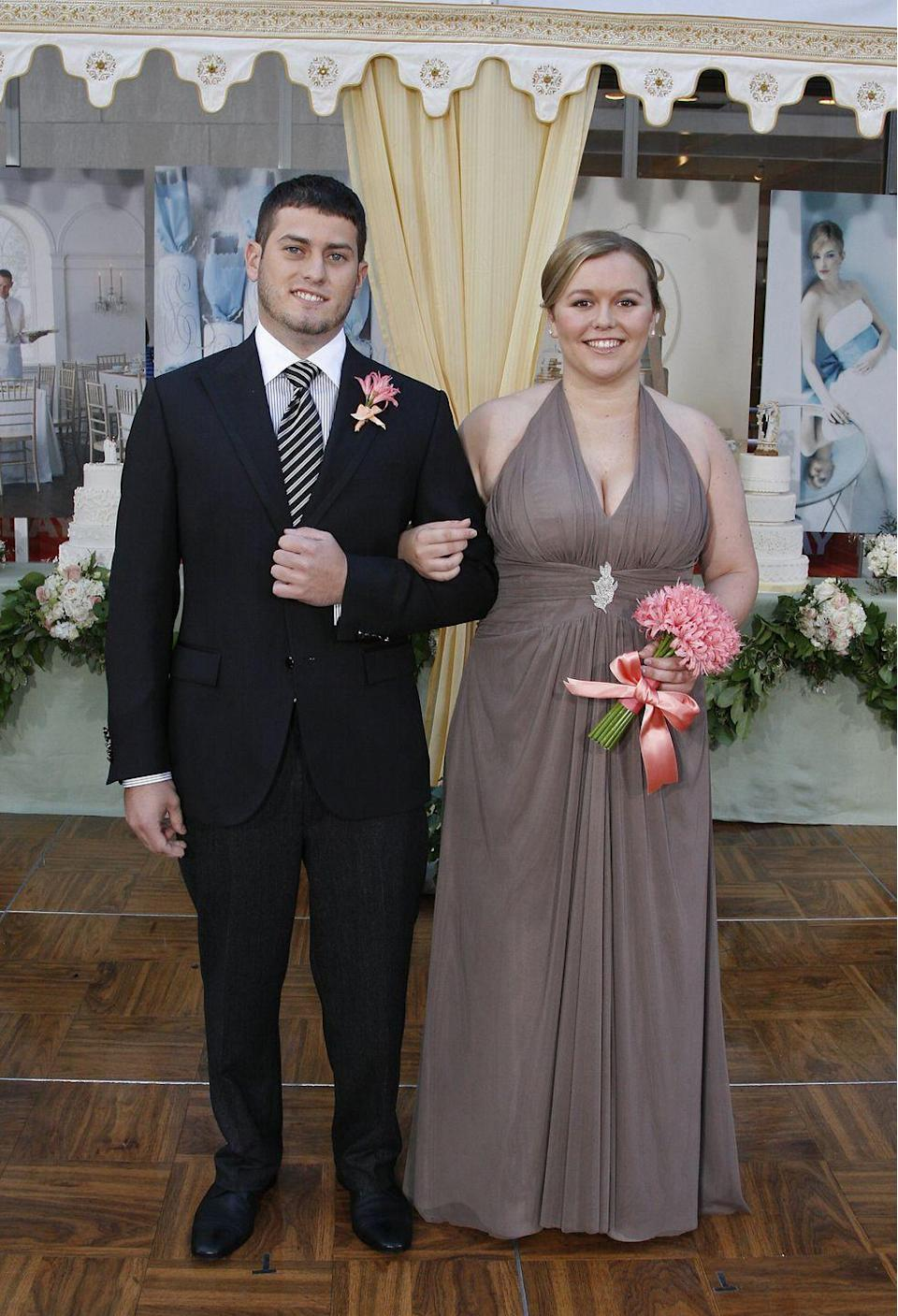 <p>Halter tops started to take over bridal parties in the mid-2000s. The style was generally seen in a chiffon fabric with front pleating. </p>