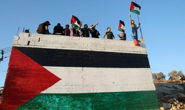 Palestinian protesters hold flags during a demonstration against the Israeli settlers' outpost of Eviatar