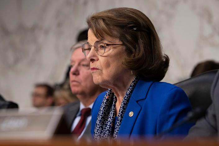 Senate Judiciary Committee Ranking Member Sen. Dianne Feinstein, D-Ca., questions William Barr at hearing to confirm him as Attorney General of the United States.