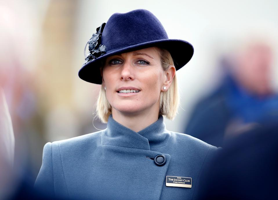 CHELTENHAM, UNITED KINGDOM - MARCH 12: (EMBARGOED FOR PUBLICATION IN UK NEWSPAPERS UNTIL 24 HOURS AFTER CREATE DATE AND TIME) Zara Tindall attends day 3 'St Patrick's Thursday' of the Cheltenham Festival 2020 at Cheltenham Racecourse on March 12, 2020 in Cheltenham, England. (Photo by Max Mumby/Indigo/Getty Images)