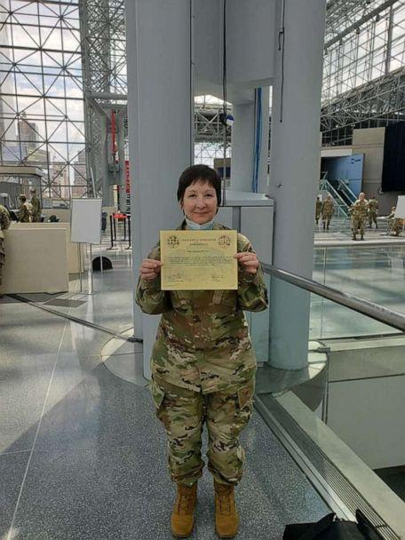 PHOTO: Sandra Daoust, a nurse, served with the 454th Medical Unit out of Portsmouth, New Hamphire, to help on the front lines first at the Javits Center and then a hospital in New Jersey. (Courtesy Sandra Daoust)