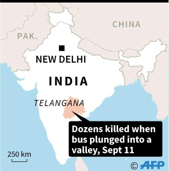 Map of India locating deadly bus accident in Telangana state