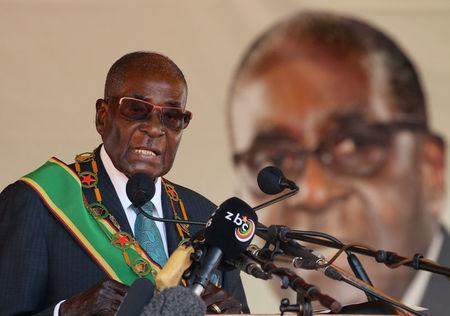 Zimbabwean President Robert Mugabe addresses a rally to mark the country's 37th independence anniversary in Harar