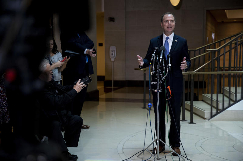 Rep. Adam Schiff (D-Calif.), chairman of the House Intelligence Committee, speaks to reporters after a closed-door briefing on a whistleblower complaint on Capitol Hill in Washington, Sept. 19, 2019. (Anna Moneymaker/The New York Times)