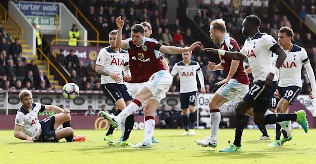 <p>Burnley's Michael Keane misses a chance to score </p>