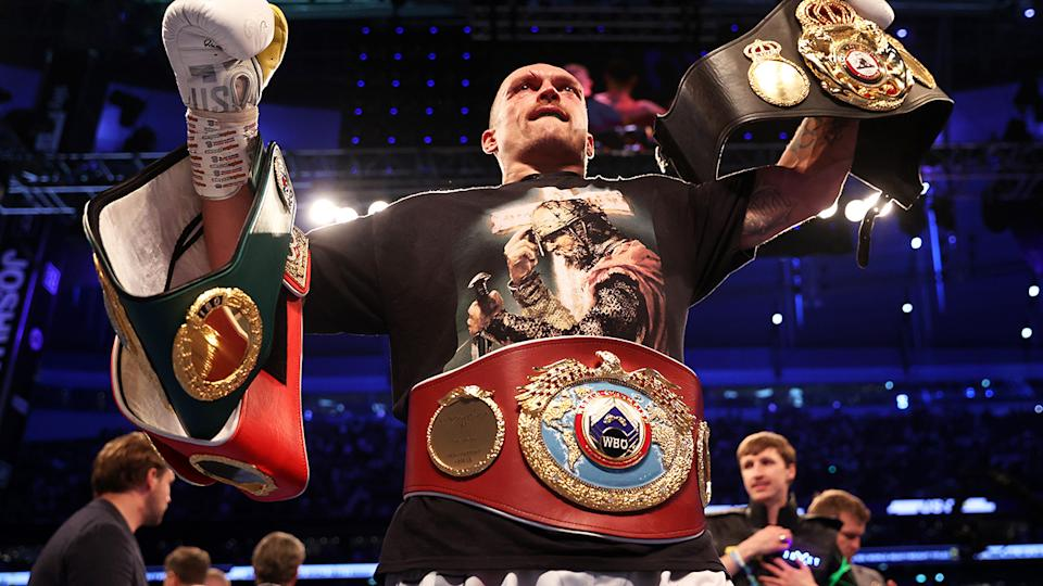Oleksandr Usyk, pictured here celebrating after defeating Anthony Joshua.