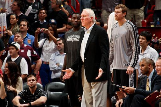 MIAMI, FL - NOVEMBER 29: Head Coach Gregg Popovich of the San Antonio Spurs reacts as his team plays the Miami Heat on November 29, 2012 at American Airlines Arena in Miami, Florida. (Photo by Issac Baldizon/NBAE via Getty Images)