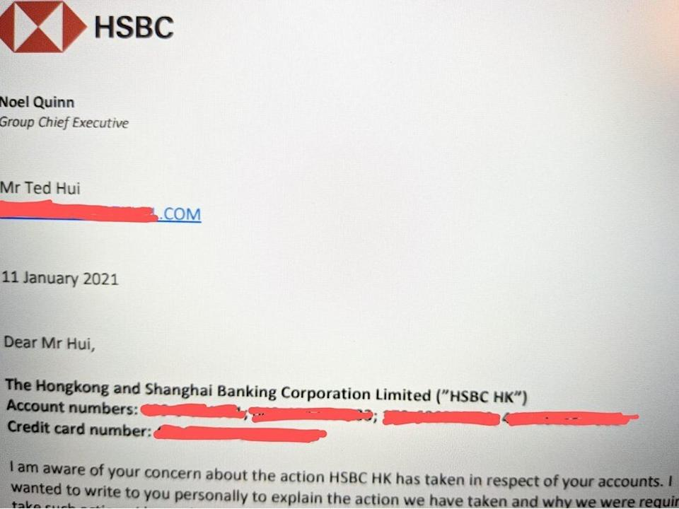 Self-exiled former Hong Kong lawmaker Ted Hui posted on Facebook part of a letter written to him by HSBC chief executive Noel Quinn. Photo: Handout
