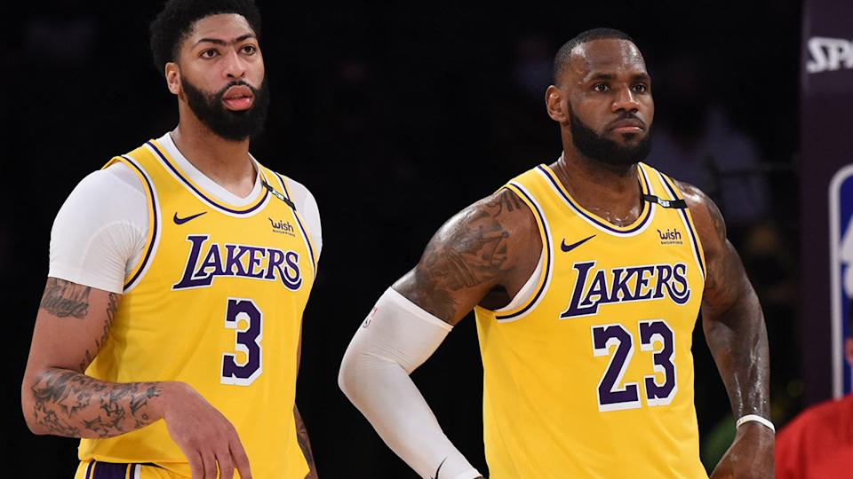 Anthony Davis and LeBron James, pictured here during the Lakers' win over Golden State.