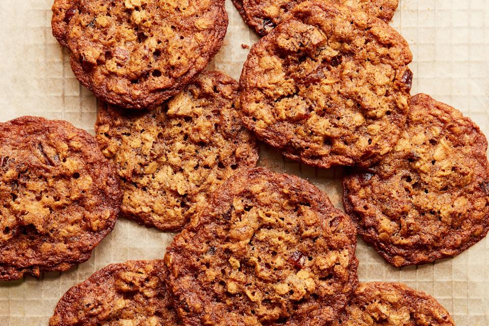 """<p>Oatmeal cookies often rank second to chocolate chip, but if there were ever a recipe to convert the toughest skeptics this would be it. Classic oatmeal cookies are made with raisins or dried black currants, but I decided to try substituting chopped dates in a moment of appreciation for all things California. Fortunately for me, dates thrive in the desert regions surrounding Los Angeles. I've become addicted to the diverse varieties grown by local farmers, and there's rarely a day I don't eat a date. They're a flavorful snack on their own and make a great addition to dishes savory and sweet.</p>   <p>Dates contribute a satisfying chew and rich butterscotch flavor to these cookies, but you can use any dried fruit that suits your palate. Dried apricots, cranberries, or blueberries also make a delectable oatmeal cookie. Old-fashioned rolled oats are favored by most bakers, and for these cookies I agree. Avoid quick rolled oats, which lack the texture of thicker varieties. You'd be hard pressed to find a better oatmeal cookie, if I may say so myself.</p> <a href=""""https://www.epicurious.com/recipes/food/views/oatmeal-date-cookies-roxana-jullapat?mbid=synd_yahoo_rss"""" rel=""""nofollow noopener"""" target=""""_blank"""" data-ylk=""""slk:See recipe."""" class=""""link rapid-noclick-resp"""">See recipe.</a>"""