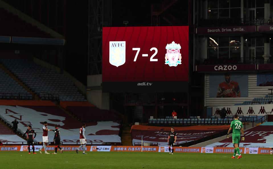 The scoreboard said it all for Liverpool against Aston Villa. (Photo by Catherine Ivill/Getty Images)
