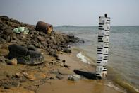 A hydrometer in Itati, Argentina, marks the exceptionally low level of the Parana river (AFP/JUAN MABROMATA)