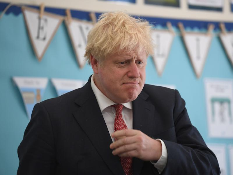 Prime Minister Boris Johnson during a visit to The Discovery School in West Malling, Kent.