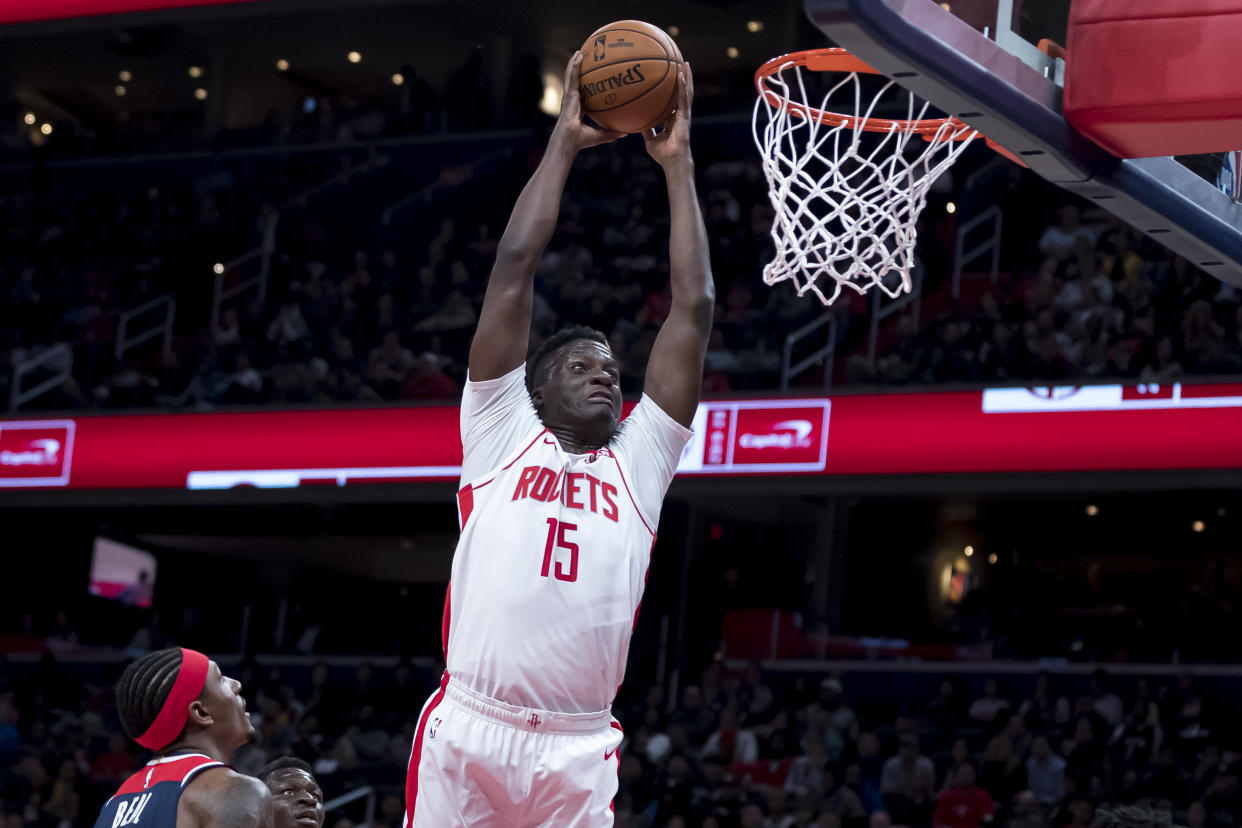Clint Capela was sent to the Rockets as part of a four-team deal on Tuesday night. (Scott Taetsch/Getty Images)