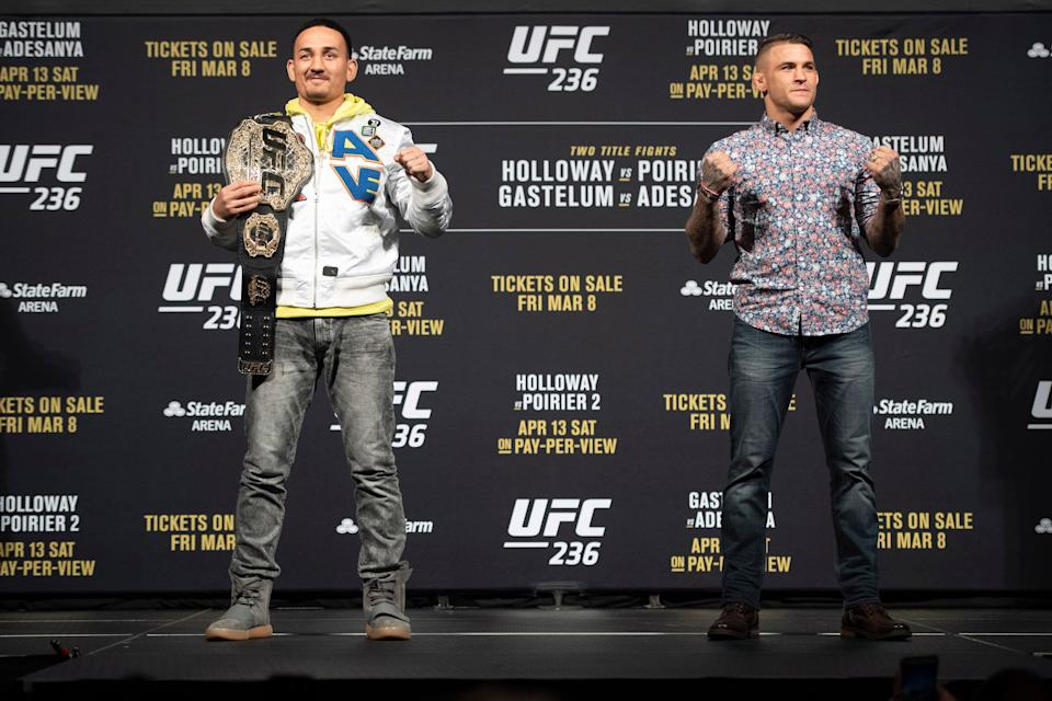 LAS VEGAS, NV - MARCH 01: UFC featherweight Champion Max Holloway, left, and Dustin Poirier during the UFC 236 press conference at the  T-Mobile Arena in Las Vegas, NV, Friday, Mar. 1, 2019. They will fight for the interim UFC lightweight championship. (Photo by Hans Gutknecht/MediaNews Group/Los Angeles Daily News via Getty Images)