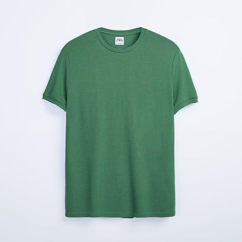 Textured weave lyocell-thread knitted T-shirt